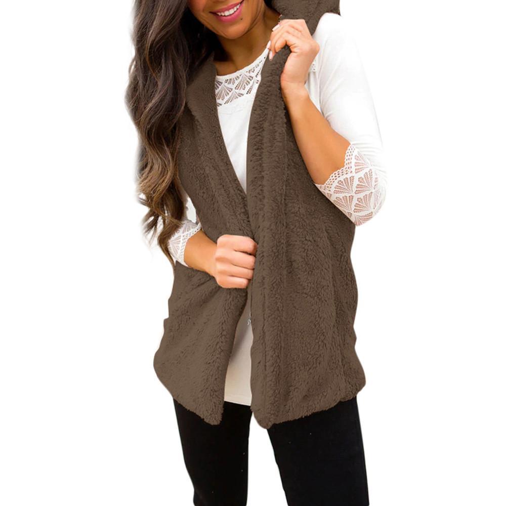 Compre Moda Para Mujer Dama Faux 2018 Piel Sólido Femenino Abierto Suelta  Frente Sin Mangas Casual Chaleco Caliente Chaleco A  35.44 Del Vanilla15  063b9a7108fa