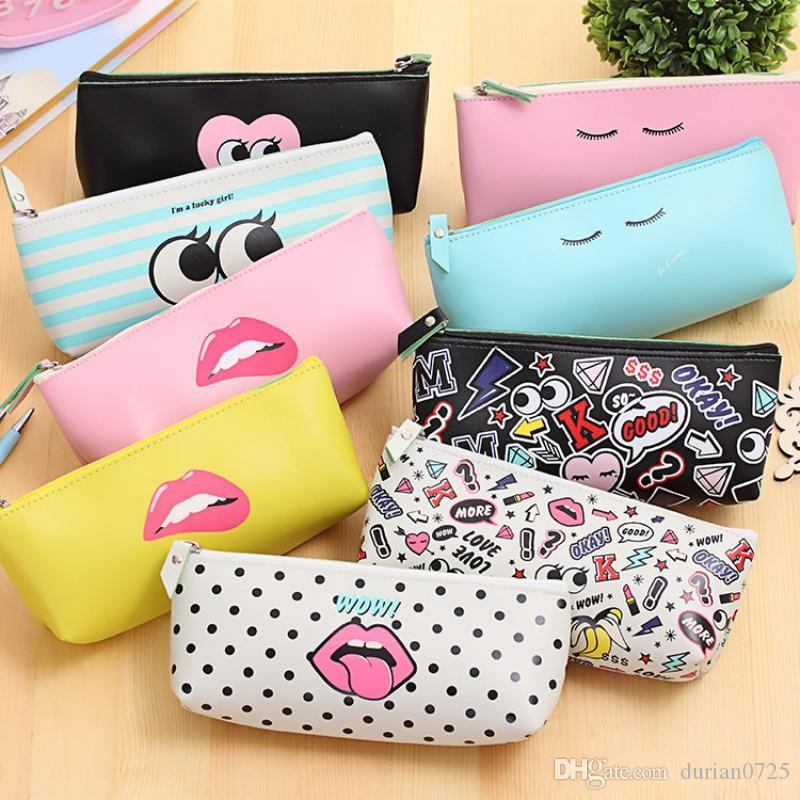 Cartoon Cosmetic Bags Stationery Pencil Pen travel Makeup Kawaii Waterproof Bag Zipper Pouch Packages Epacket Free