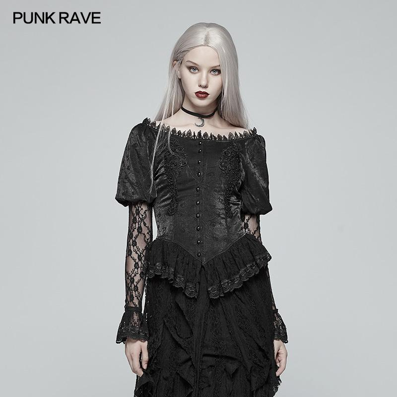 c8a1d59c5a6fe2 Großhandel Punk Rave Mode Schwarz Gothic Spitze Laterne Hülse Retro Lolita  Frauen T Shirt Tops WY972 Von Chikui, $96.49 Auf De.Dhgate.Com | Dhgate
