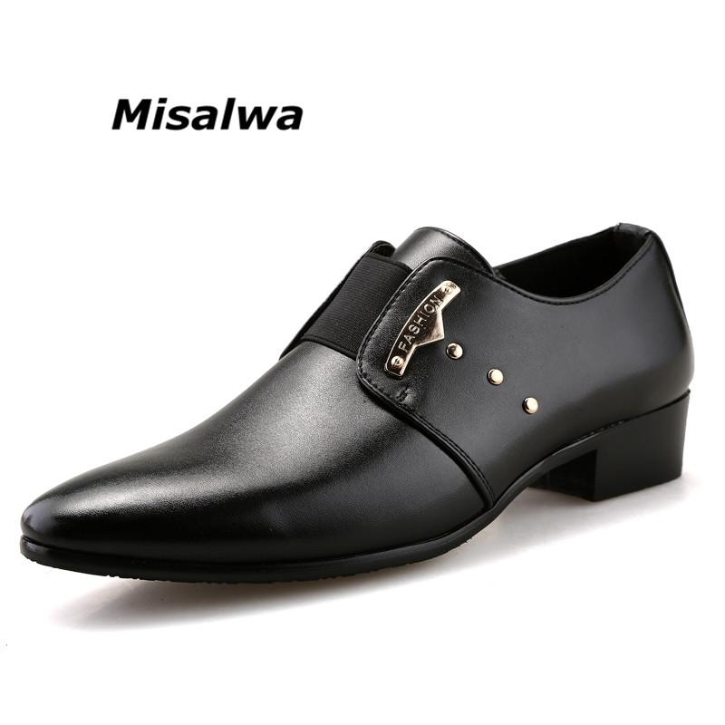 f6ef50d01 Compre Misalwa Black Wedding Dress Homens Sapatos Formais Sapatos De Salto  Alto Apontou Derby Sapatos De Negócios Barber Calçado De Couro De Luxo Slip  On De ...