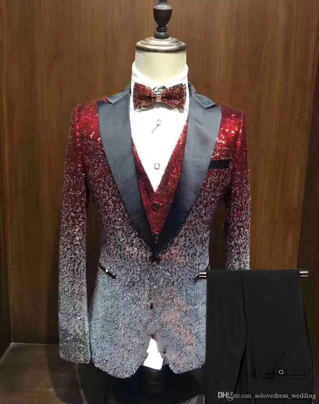 17cd3a5c76c06b New Men Suit Shiny Gradually Changing Color Sequin Mens Suit Peak Notch  Lapel Tuxedo For Wedding Party GroomBlazer++Vest+Pants Men Wedding Suits  Mens Formal ...