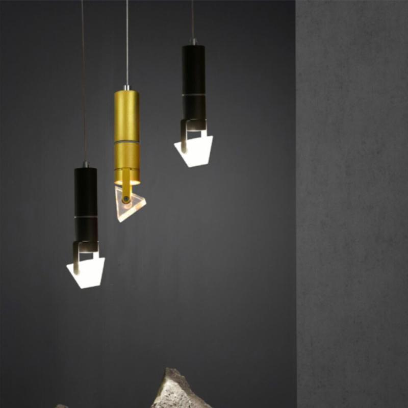 À Triangle Led Suspension Salle Loft Moderne Chambre Luminaires Décoration Individualité Manger Cristal Suspendus Lampe ZukOXTPi