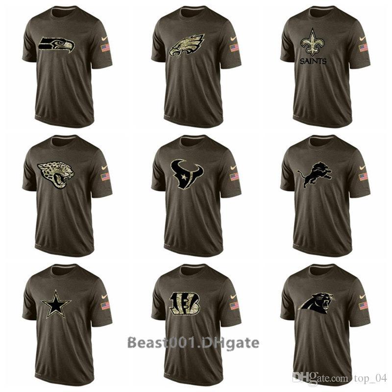 the latest 1d6d2 d288a Men Seahawks Eagles Saints Jaguars Texans Lions Cowboys Bengals Panthers  Salute To Service T-Shirt