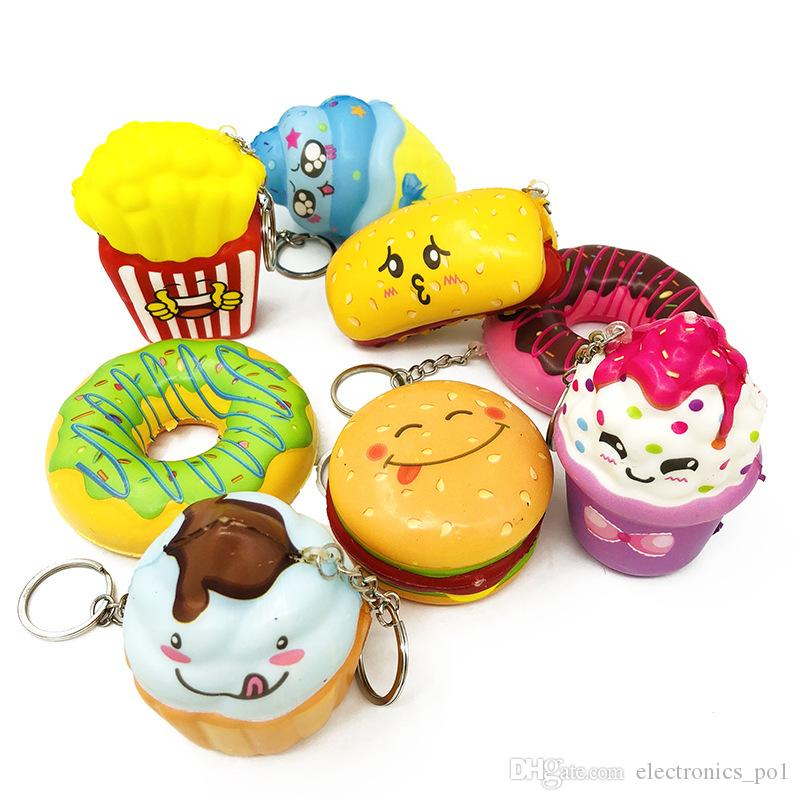 Hot imitation bread donut slow rebound pendant cell phone pendant vent decompression PU toys, a bag of eight mixed colors free shipping