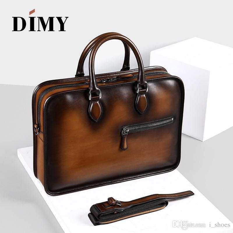 1db2eb2a5017 DIMY Vintage Handmade Italian Genuine Leather Briefcase Men Hand Patina  Messenger Shoulder Bags Laptop Business Case Men s Bags #226297
