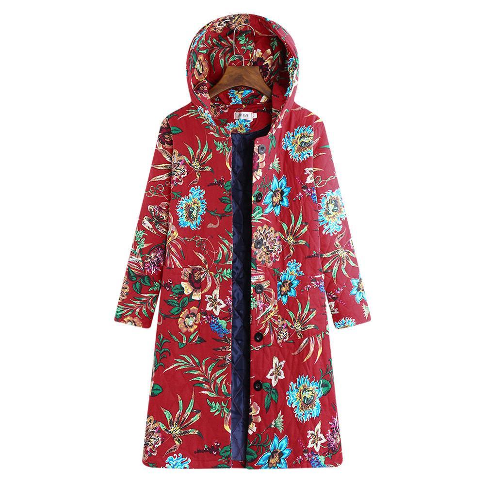 49b1ab616 Plus Size Parkas Women Winter Warm 2018 Long Fashion Red Vintage Thicken  Button Hooded Cotton-Fleece Ladies Jacket Coats Casaco