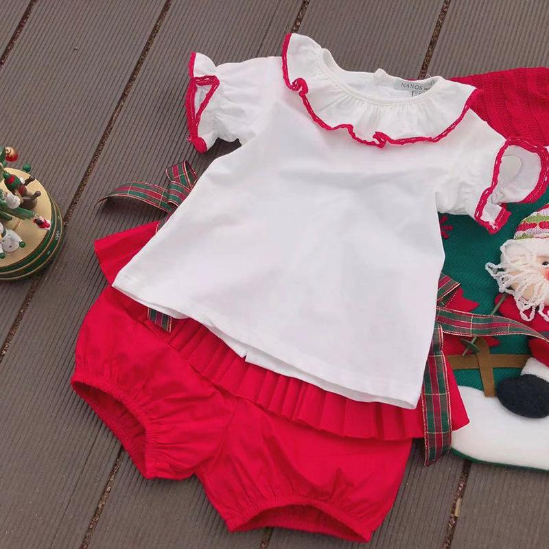 674de5bea Baby Girls Clothing Kids sets Summer Sleeveless white color with bow  Ruffles collar shirt +red pleated short summer princess clothing sets