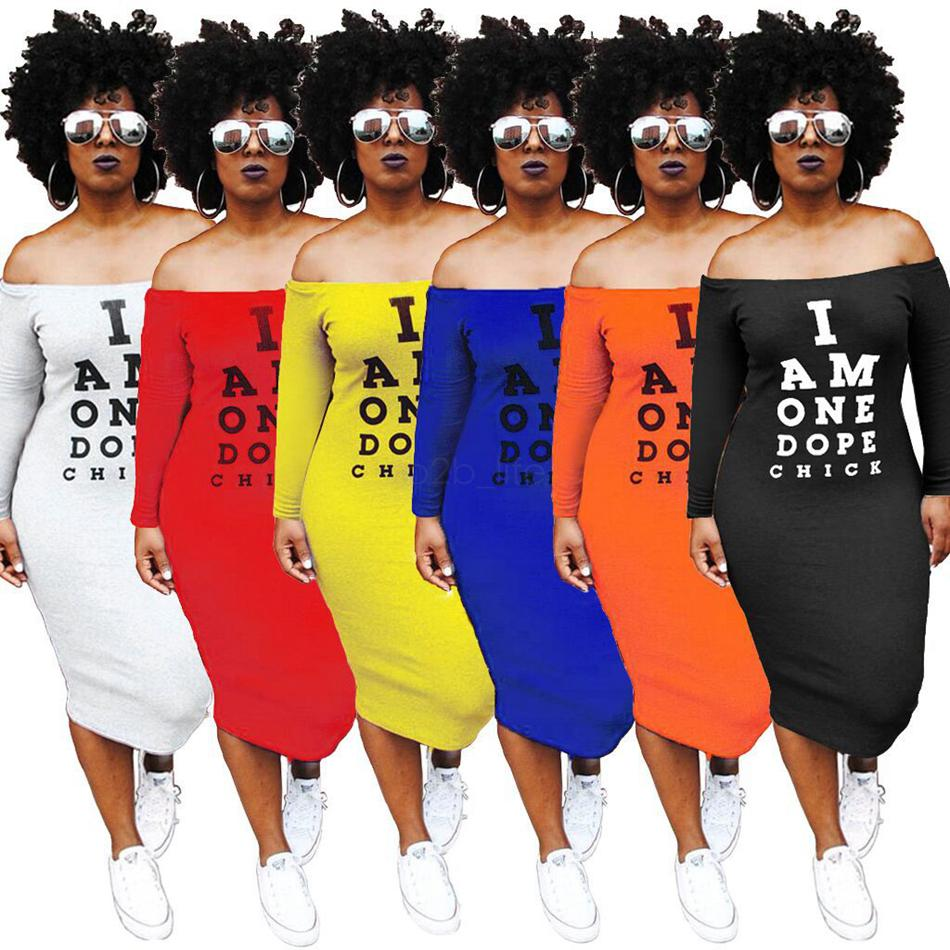 1fc4ecdb14f1 2019 Off Shoulder T Shirt Dress Women Sexy Letter Print Hip Slash Neck  Night Club Dress Summer Short Sleeve Backless Mid Calf Dress AAA1980 From  Kids_dress, ...