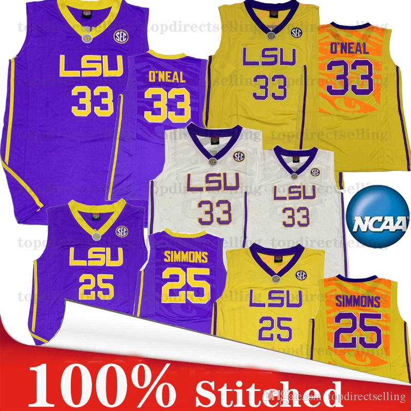 the latest 19930 fbd06 2019 NCAA LSU Tigers Shaquille O Neal 33 Ben Simmons 25 Men s Women s  Basketball Jerseys Swingman jersey Icon Edition 100% Stitched
