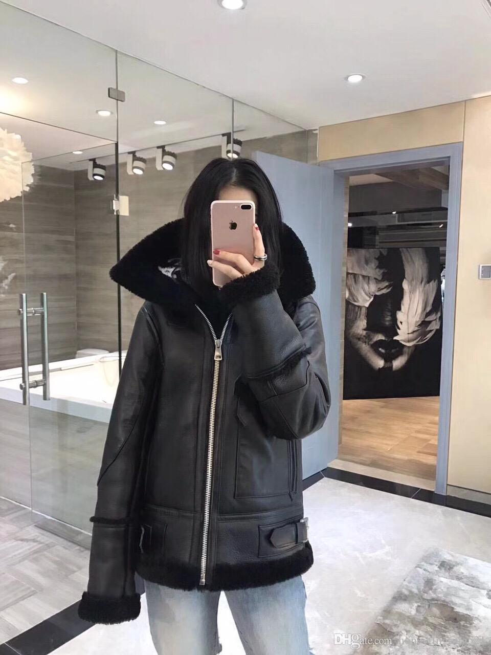 2019 الخريف الشتاء جلد جديد إلكتروني تصميم وطباعة الضأن فو الفراء الدافئة سماكة من جلد الغزال لفترة طويلة الأكمام سترة معطف بالاضافة الى حجم S M L XL