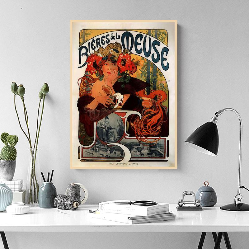 Alphonse Mucha Art Painting Bieres de la Meuse 1897 Classic Canvas Paintings Vintage Wall Posters Stickers Home Decor Gift