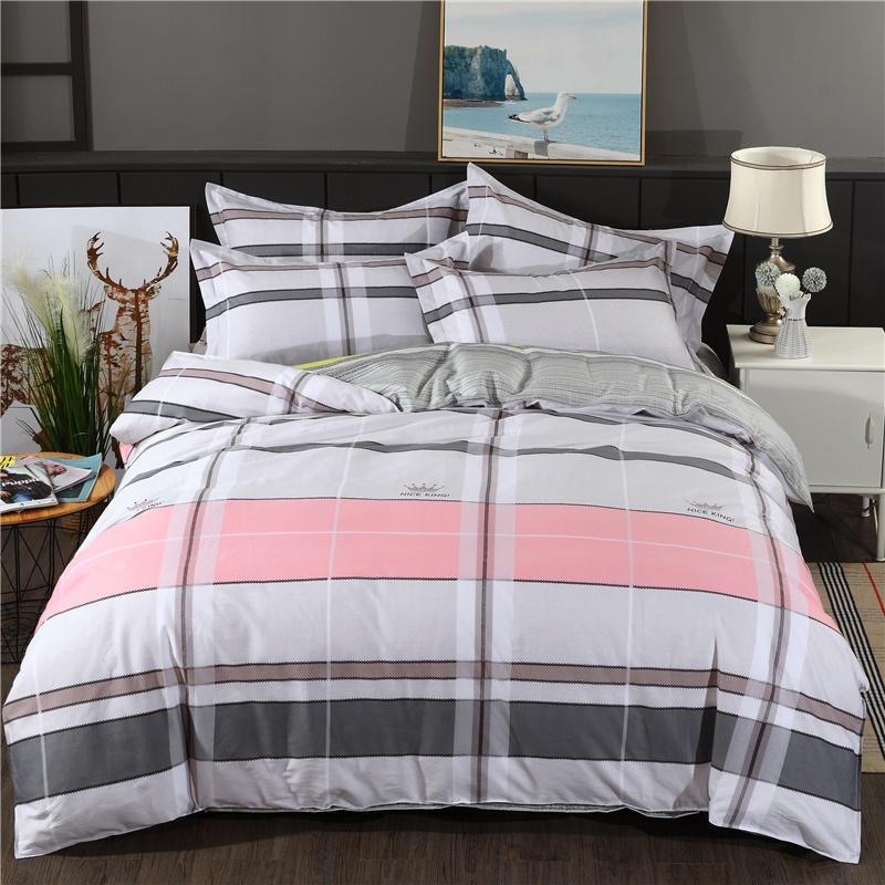 Pink white grey black stripes Bedding Set Pure cotton Bed Set Duvet Cover Bed Sheet Pillowcases Twin Queen King size