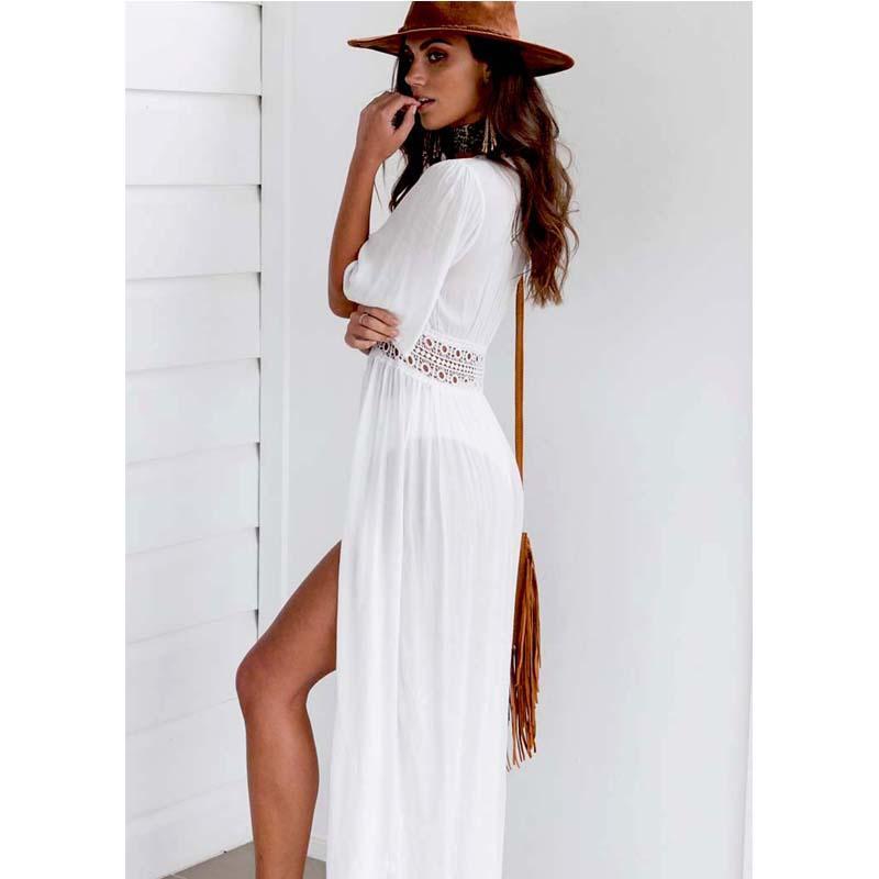7bf798d602 2019 Sexy Ladies Women Solid White Bikini Cover Up Beach Dress ...