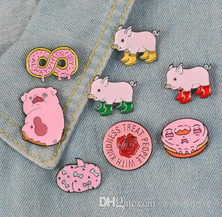 Pink Collection ! Always Hungry Harry styles pins Round Rose Flower Rain  boots pig pumpkin Soft Enamel Lapel Pin Badge Brooches