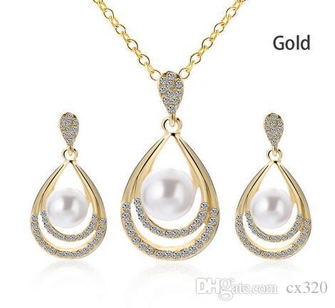 1Set Elegant Imitation Pearls Necklace For Women Gold-color Crystal Earrings Necklace Bracelet Jewelry Sets Femme brincos