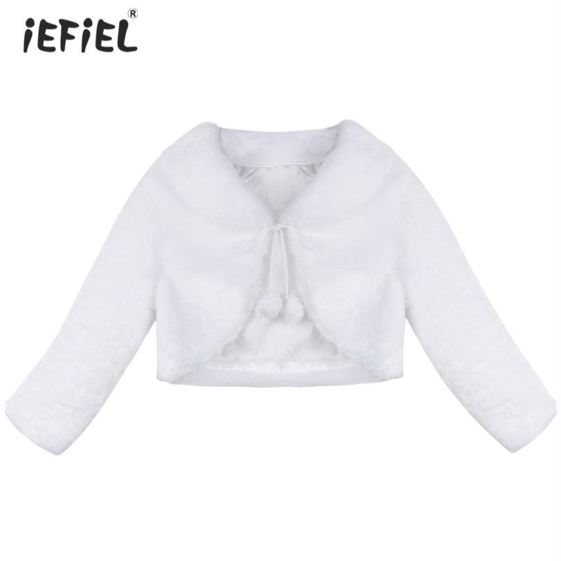 0dc43394f Autumn Winter White Ivory Color Child Girls Coat Faux Fur Long ...