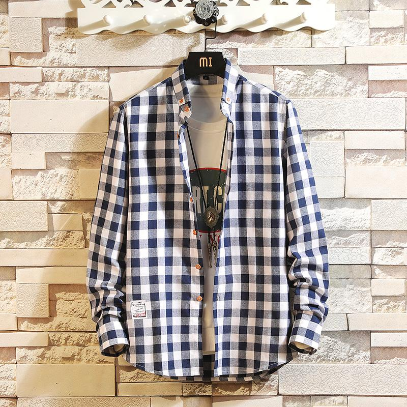 LENSTID Red And Black Plaid Shirt Men Shirt 2019 New Spring Fashion Chemise Homme Mens Checkered Long Sleeve Shirts Men Blouse
