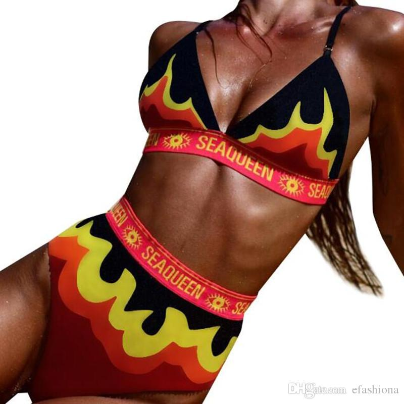 3aa0511e62c Women Swimwear Swimsuit Outdoor Sport Sexy Neck Fire Letters Bikini ...