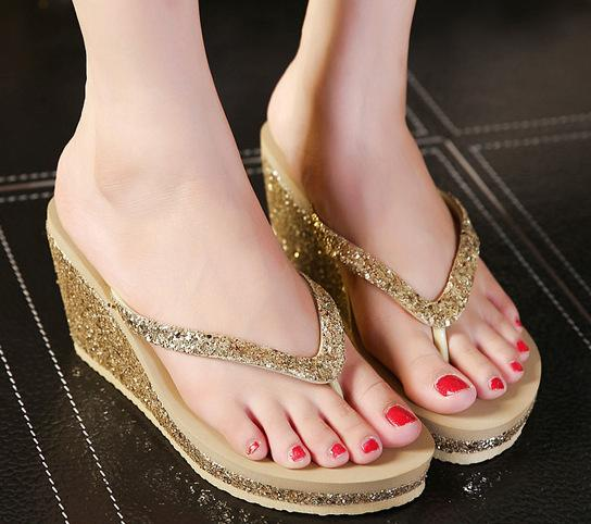a7ec4566818 2019 Woman Bling Shoes Platform Sandals Slippers Wedge Beach Sandals Shoes  Female High Heel Slippers For Women Flip-Flop 3396
