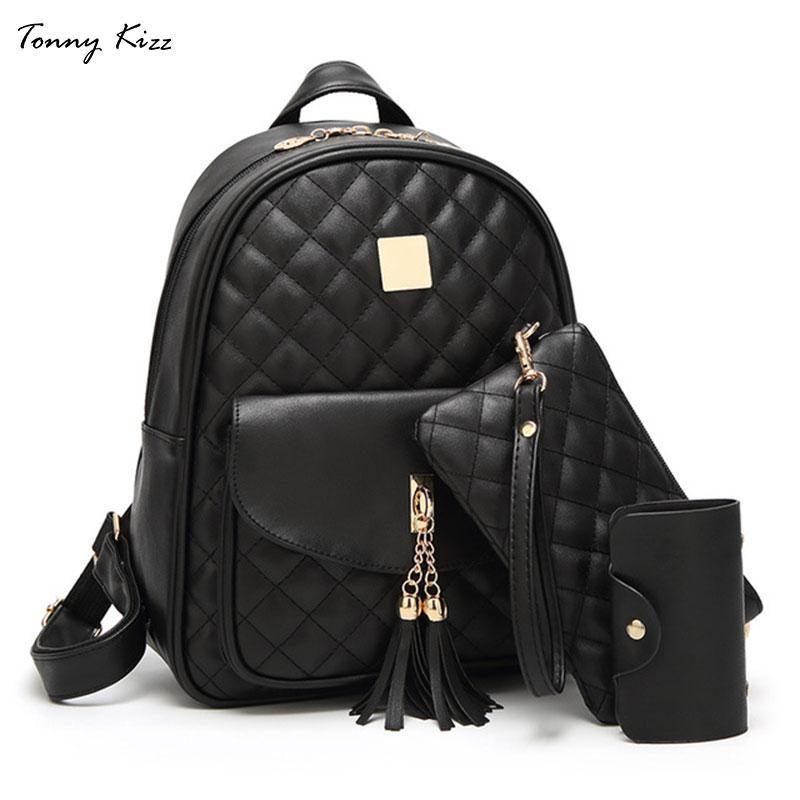 b5dfa99a7dba Tonny Kizz 2018 Canvas Backpack 3 Pcs/set Women School Backpacks Schoolbag  for Teenagers Man Student Book Bag Boys Satchel Black