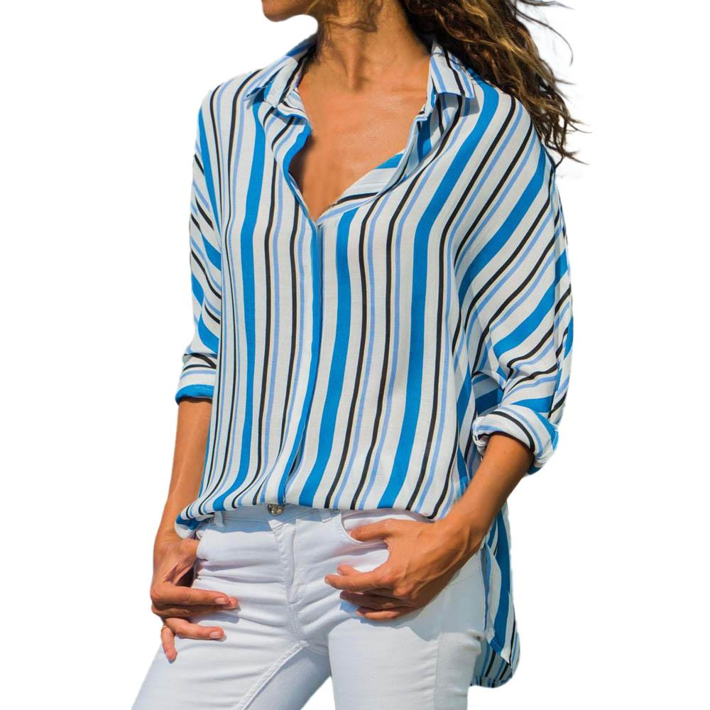 37424dab8a Feitong Shirts Women Casual Striped Turn Down Collar Long Sleeve ...