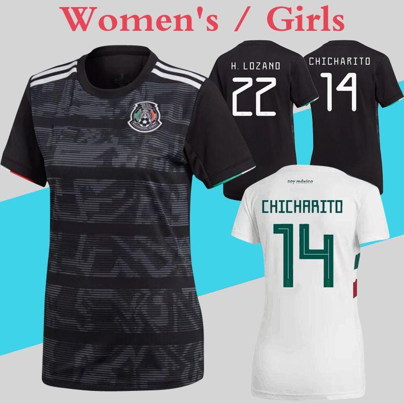 2a46d5f80 Mexico Mujer Jerseys 2019 Gold Cup Black 2018 World Cup Camisa De Fútbol  Blanca Niña Femenina Uniformes Más Envío De DHL Gratis Por Chenle258