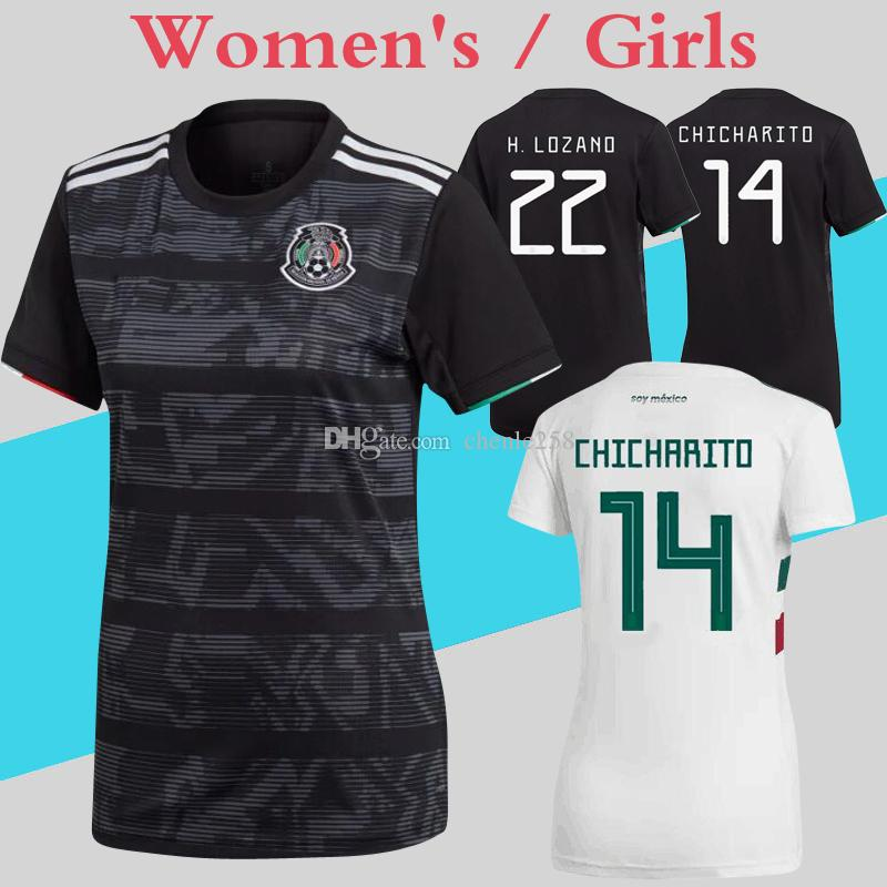 Mexico Women Jerseys 2019 Gold Cup Black 2018 World Cup White Soccer Shirt  Female Girl uniforms More 10pcs Free DHL Shipping