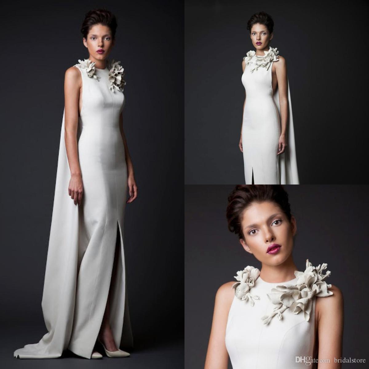 6fc72cae2ddd Krikor Jabotian Mermaid Evening Dresses With Wraps Ivory Jewel Neck Hand  Make Flower Designer Prom Dresses Imitation Designer Dubai Party Designer  Formal ...