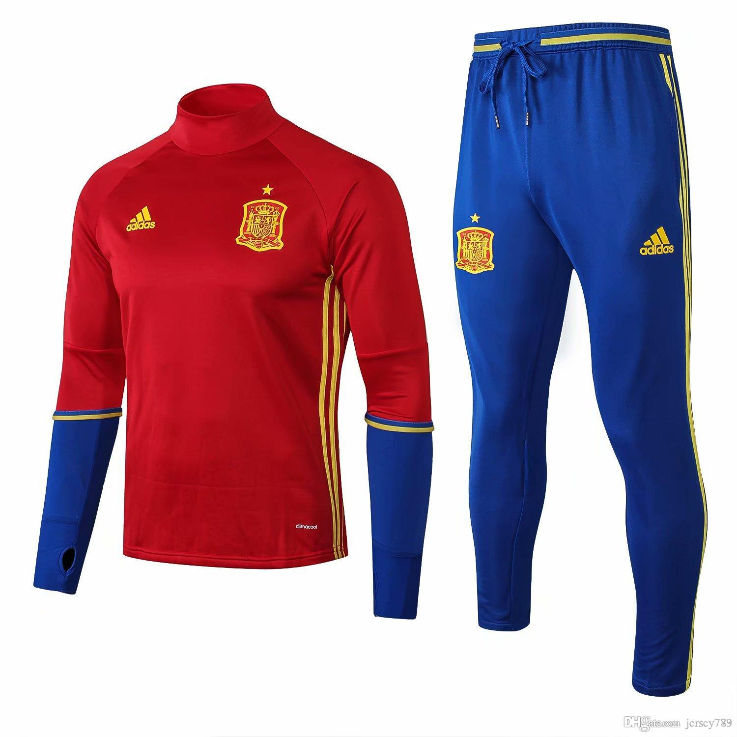 38f5cfce6e8 2019 2017 18 Spain Football Jerseys Training Suit 17 18 TORRES SILVA ISCO  SERGIO RAMOS A.INIESTA Spanish Football Uniform Soccer Jerseys Chandal From  ...