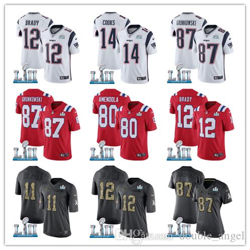 8c49bc258 2018 Men S Patriot Jersey  87 Rob Gronkowski Danny Amendola Tom Brady 92  Harrison 11 Edelman Super Bowl Stitched Jersey UK 2019 From Soso01