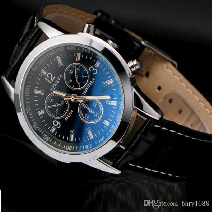 9d093aa9da5d Compre Unisex De Negocios Para Hombre Relojes Blue Ray Vidrio Cuero Hombres  Reloj De Cuarzo Vestido De Moda Regalo Relojes De Pulsera Para Mujeres 100  Unids ...