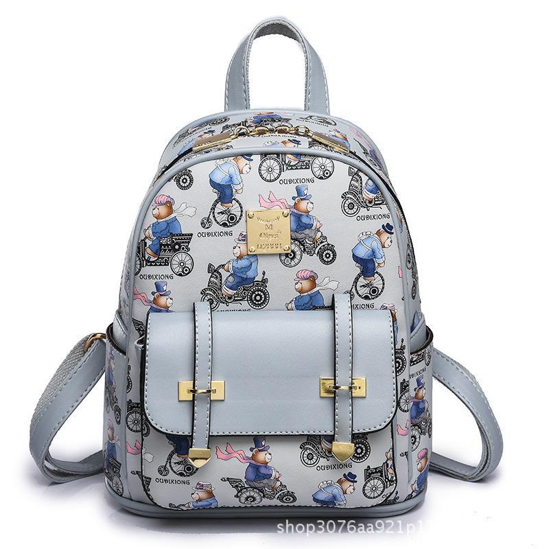 998ba766dc44 2018 Women Bag Spring New Korean Fashion School Bag Bear Print Cute Trend  PU Soft Shoulder Strap Square Youth Student Female Backpack Cloth Bags  Childrens ...