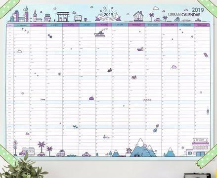 Calendario Da Parete Grande.2019 365 Giorni Di Calendario Di Carta Da Parete Ufficio Scolastico Daily Planner Note Programma Di Capodanno Molto Grande Programma 43 58 Cm