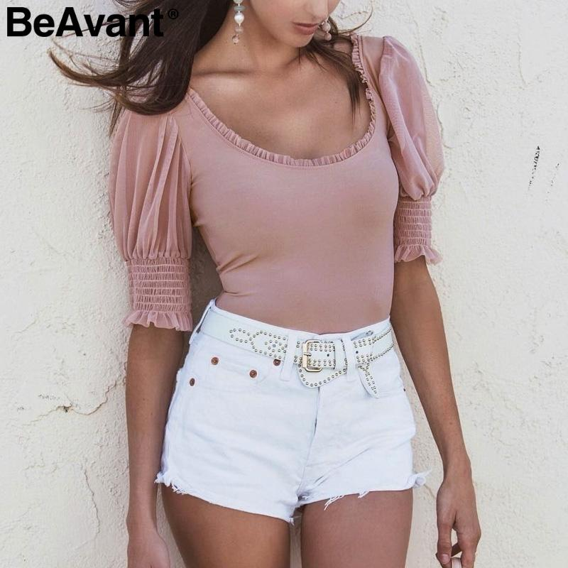 Beavant One Piece Mesh Sexy Bodysuits Women Elegant Puff Sleeve Chiffon Bodysuit Blouse Ladies Fitness Jumpsuit Female Playsuit C19040402