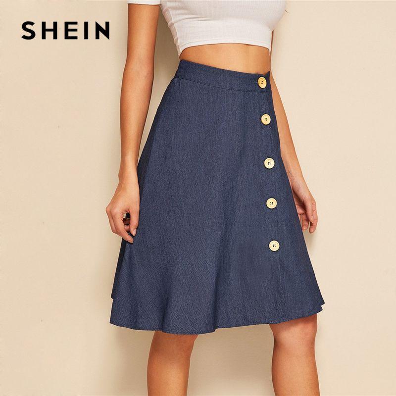 989cc72cb SHEIN Button Up Circle Falda de mezclilla Mujer Verano A Line Flared Faldas  2019 Primavera Otoño Azul marino Sólido Mediados de cintura Midi Faldas