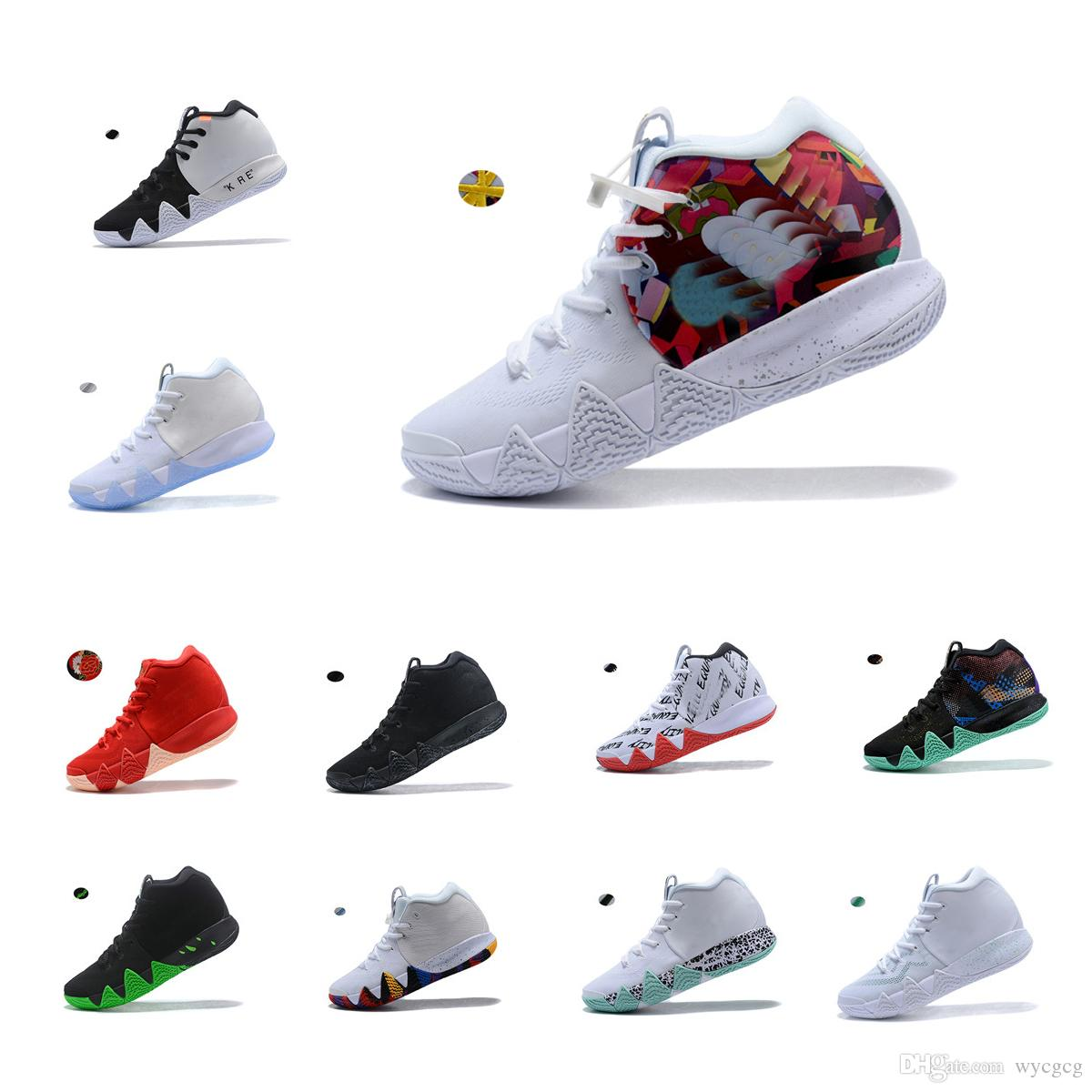 b675b45038552 Acheter NIKE Kyrie Irving Basketball Shoes 4 4s NBA All Star Celtics  Cleveland Cavaliers Uncle Drew Black Warrior Maple Leaf Joint Style Black  And White ...