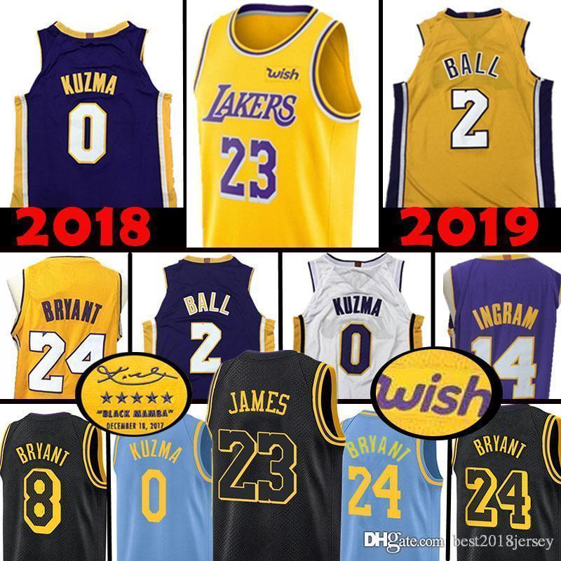 860c9b2c248 2018 Top Quality Los Angeles Lakers 23 LeBron James 2 Lonzo Ball 0 Kyle  Kuzma Jersey 14 Brandon Ingram 8 24 Kobe Bryant Basketball Jerseys 2019  From ...