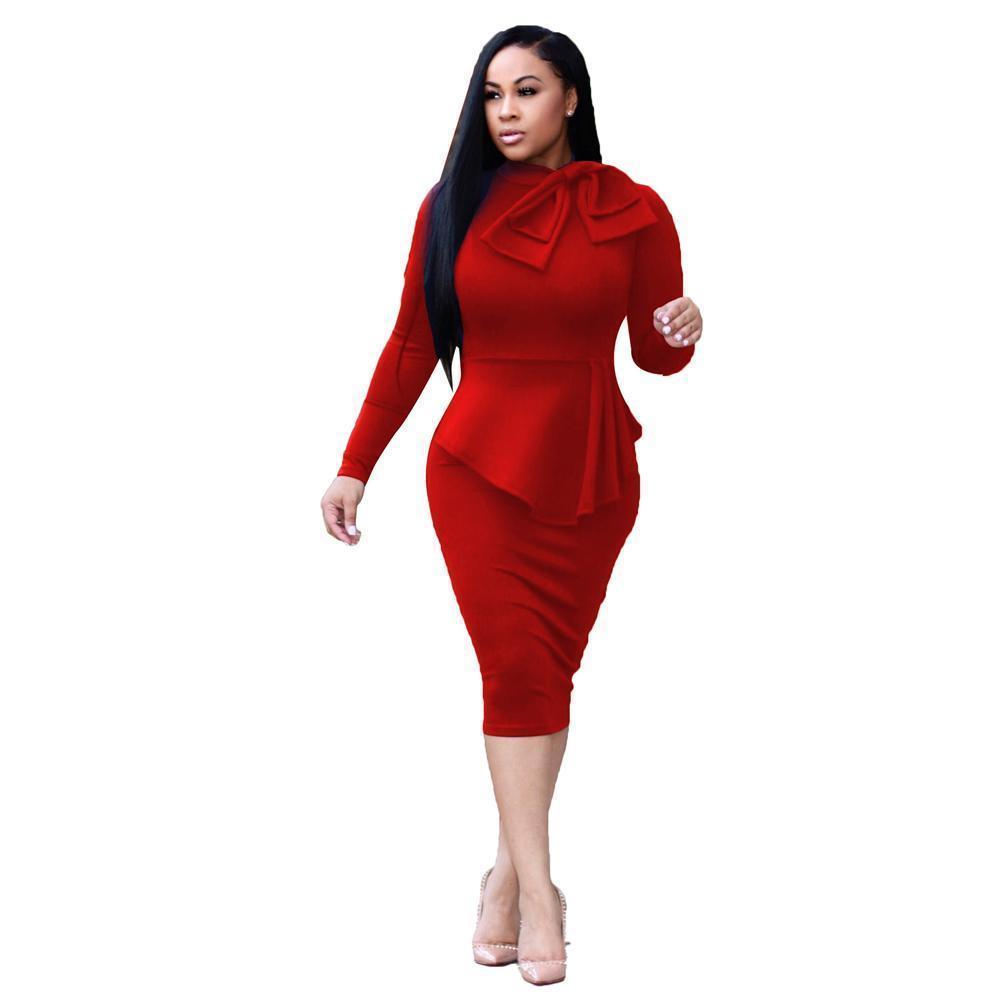 88b9c305527d Elegant Women Midi Dress High Neck Long Sleeve Bowknot Ruffles Pencil Dress  Solid Slim Bodycon OL Dress Red/Green/Dark Blue Robe Dress Of Woman White  Summer ...