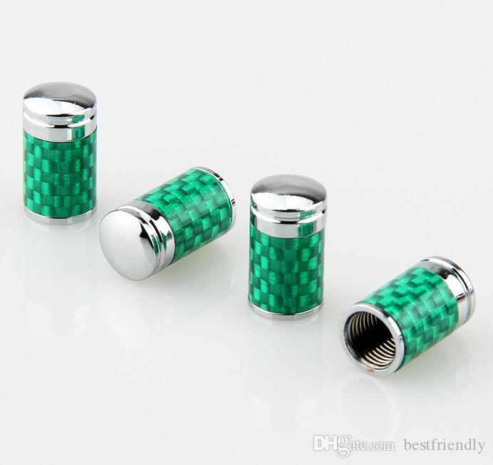 Green Carbon Fiber Tire Valve Cap Valves Cover Set Tyre Dust Cap MT keychain Car Badge Emblem Badges