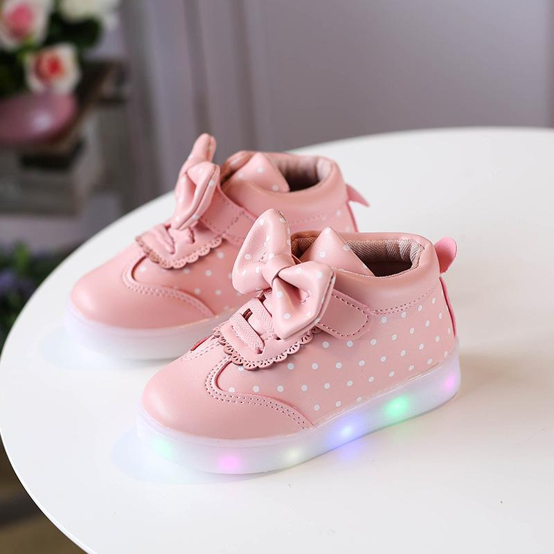 92637ef4f90c 2018 New Pattern Autumn And Winter Children Shoe LED Light Luminescence Girl  Round Shoes Point Bow Light Baby Shoe Children Shoe LED Light Shoes Baby  Shoe ...