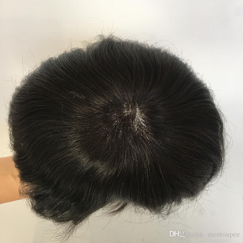 Swiss Lace Front Pu Back Mens Toupee Bleached Knots Toupee Human Hair Wigs Replacements Hair Systems Free Style For Men
