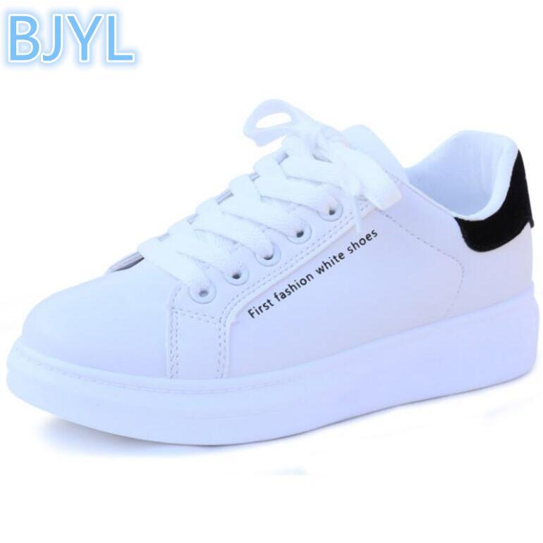 945f5f2b1 BJYL 2018 Spring New Simple White Shoes Female College Wind Wild Student Shoes  Flat Board High Heel Shoes Nude Shoes From Wangbeiche, $33.7| DHgate.Com