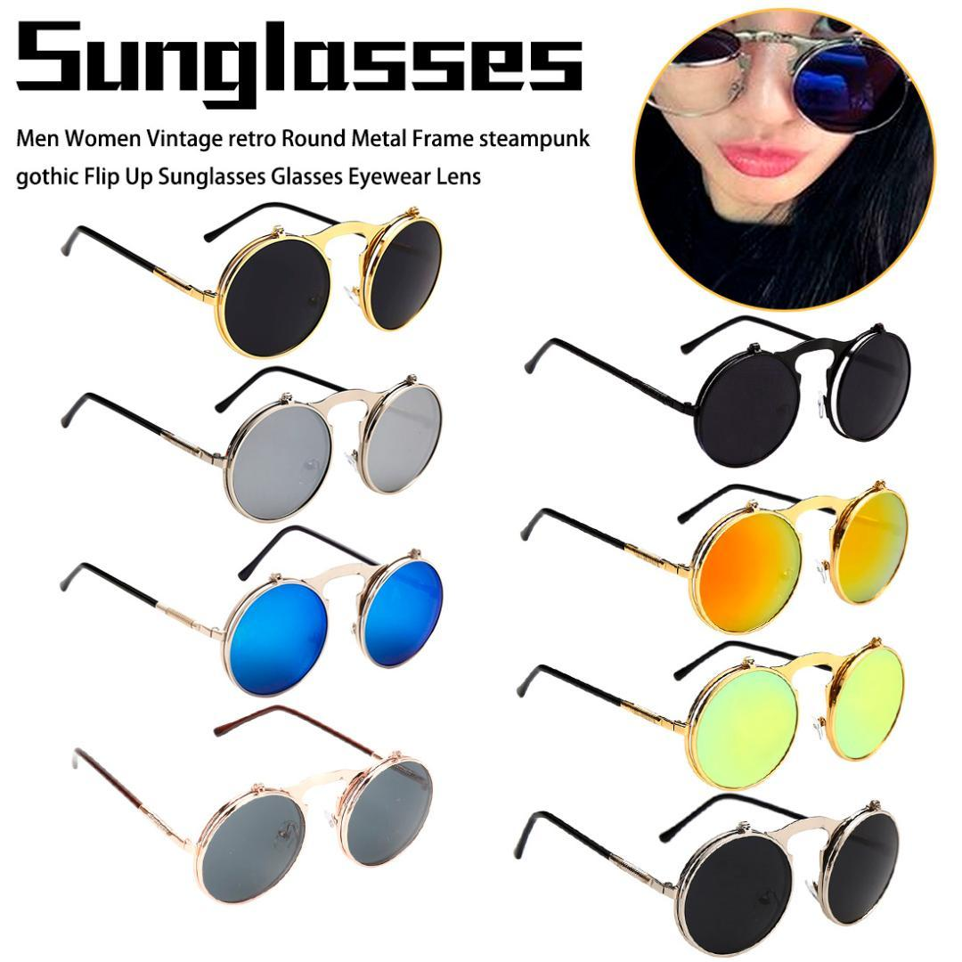 24f6d36ae Men Women Vintage Retro Round Metal Frame Steampunk Gothic Flip Up Sunglasses  Glasses Eyewear Lens Prescription Glasses Sunglass From Fotiaoqia, ...