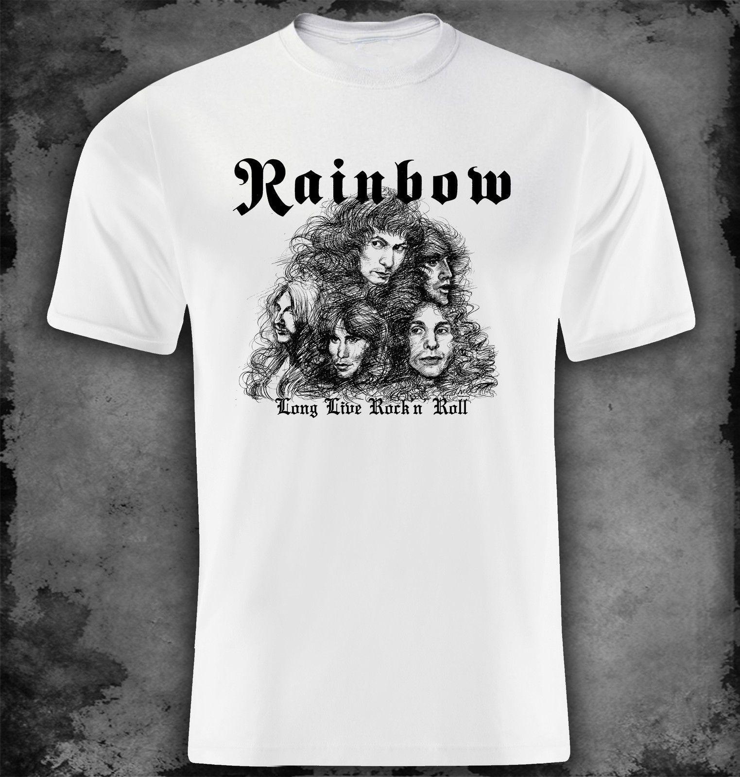 f32925e31 Rainbow Long Live Rock'n'Roll Funny free shipping Unisex Casual Tshirt top