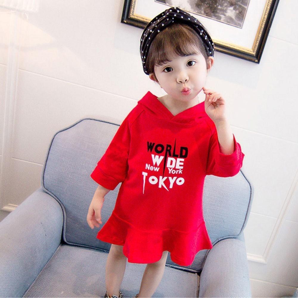 658bd2642b30f Satın Al Kaliteli Kız Elbiseler Çocuk Elbise Zarif Bebek Kız Mektup  Karikatür Baskı Kapüşonlu Kazak Kazak Elbise Tops Vestido Menina, $26.21 |  DHgate.Com'da
