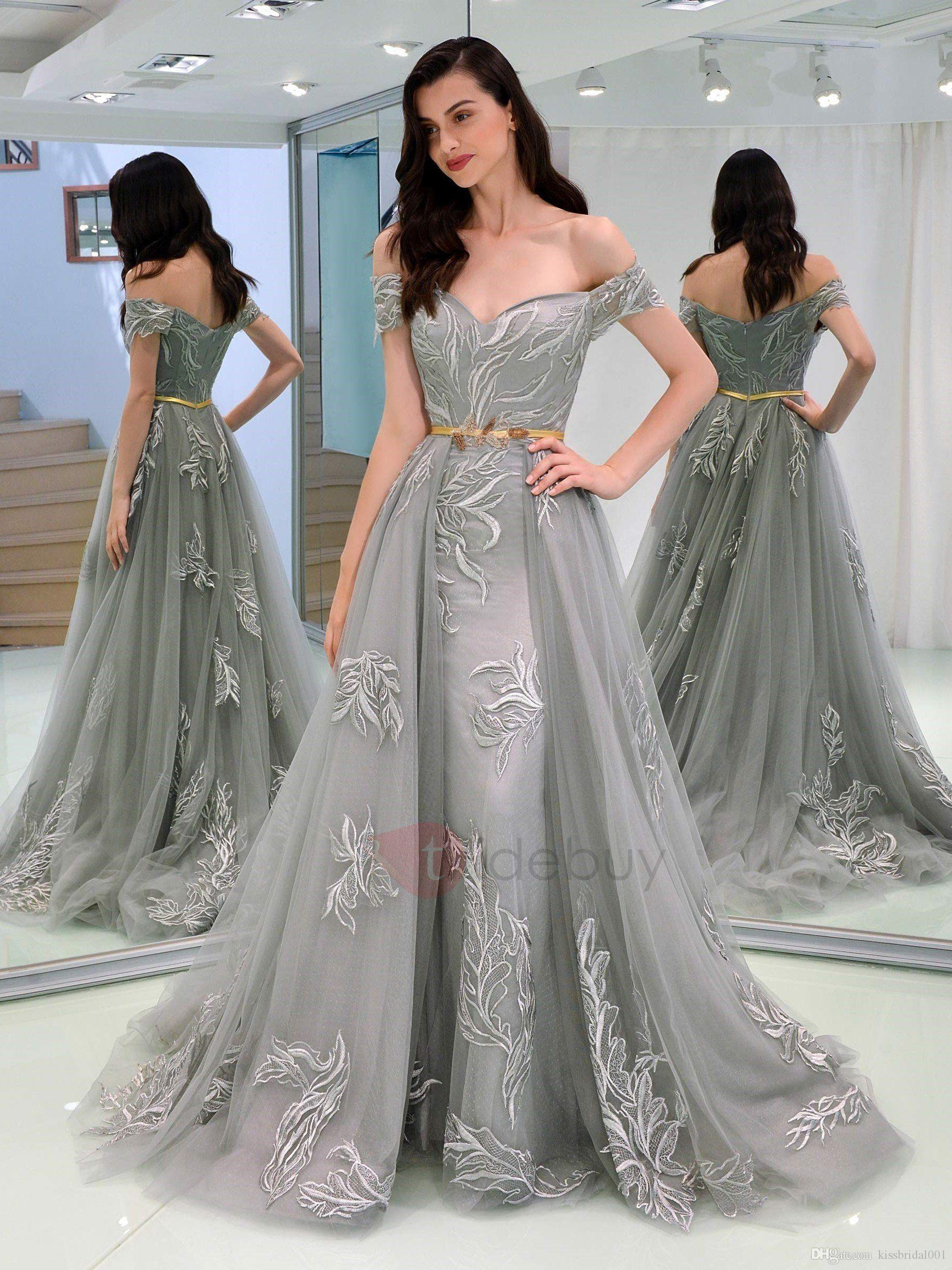c42f78b7b6 Gray Prom Dresses With Detachable Train Mermaid Off Shoulder Lace Tulle  Overskirts Evening Gowns Celebrity Red Carpet Formal Dress No Sash Cute  Short Prom ...