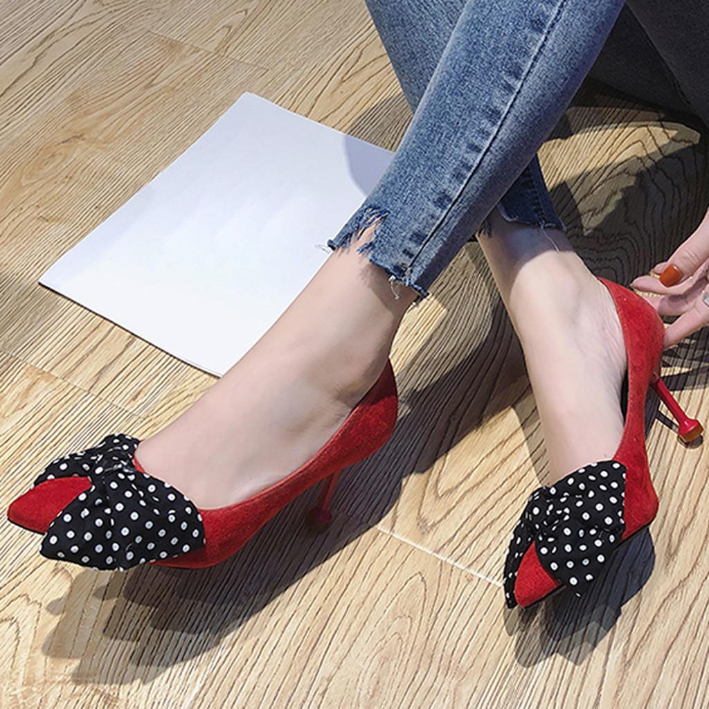 Youyedian Women Pumps 2019 Fashion Red High Heels Shoes Bow Pointed Toe  Women Pumps Thin Heel Beige Black Ladies Shoes Mens Sandals Mens Trainers  From ... 621bbe4311ac