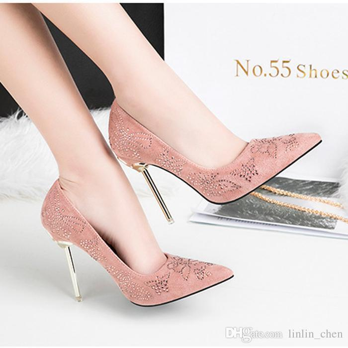 Lucky2019 Special Offer Rushed Women Grey Sequins Pink Wedding Shoes Quality Suede Metal Stiletto Heel Ol Party Pointed Toe Dress 6608-23