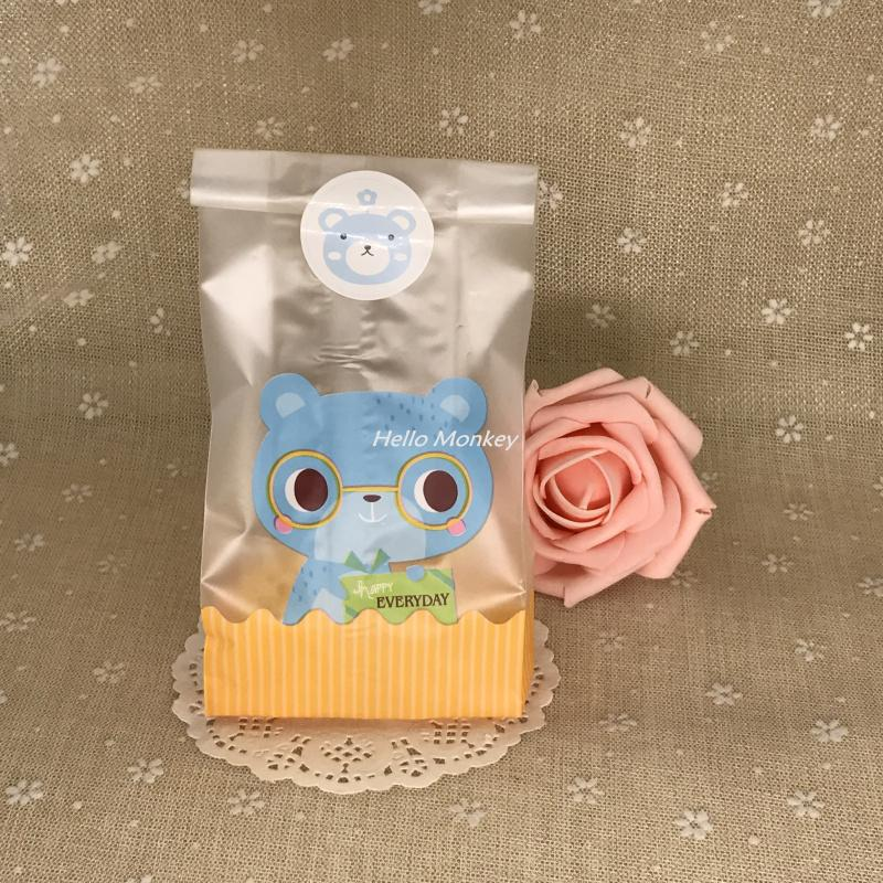 Cute Party Cookie Packaging Lovely Bear Cat Self-Adhesive Candy Box Biscuits Snack Candy Bags Package