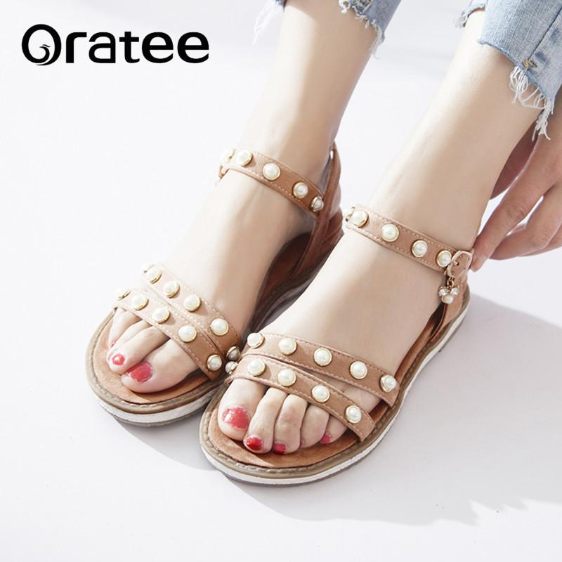 8ac62175bd9fdb New Bohemia Beach Sandals For Women New Summers Shoes Female Casual Pearl  Flat Shoes Gladiator Mujer Sandalias Plus Size 33 43 Leather Sandals  Wedding ...